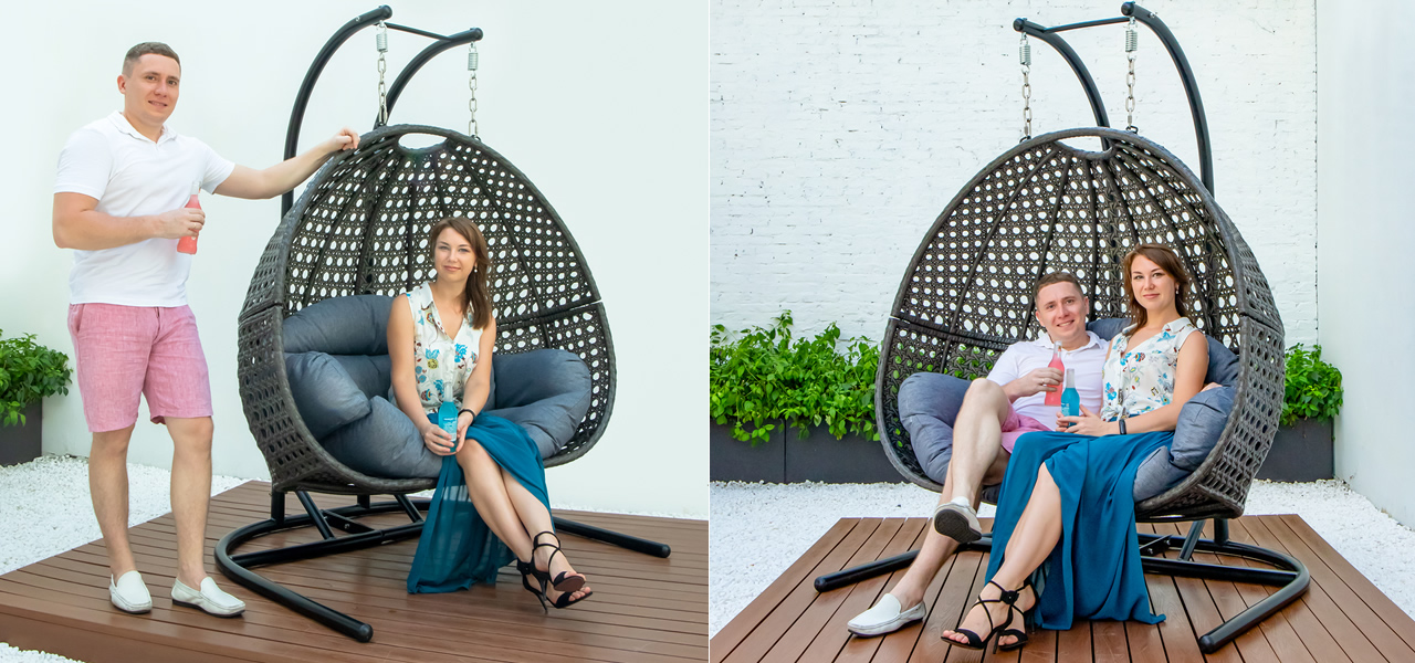TANFLY Luxury Wicker Swing Chair with Stand TF-9716KD Mail Carton