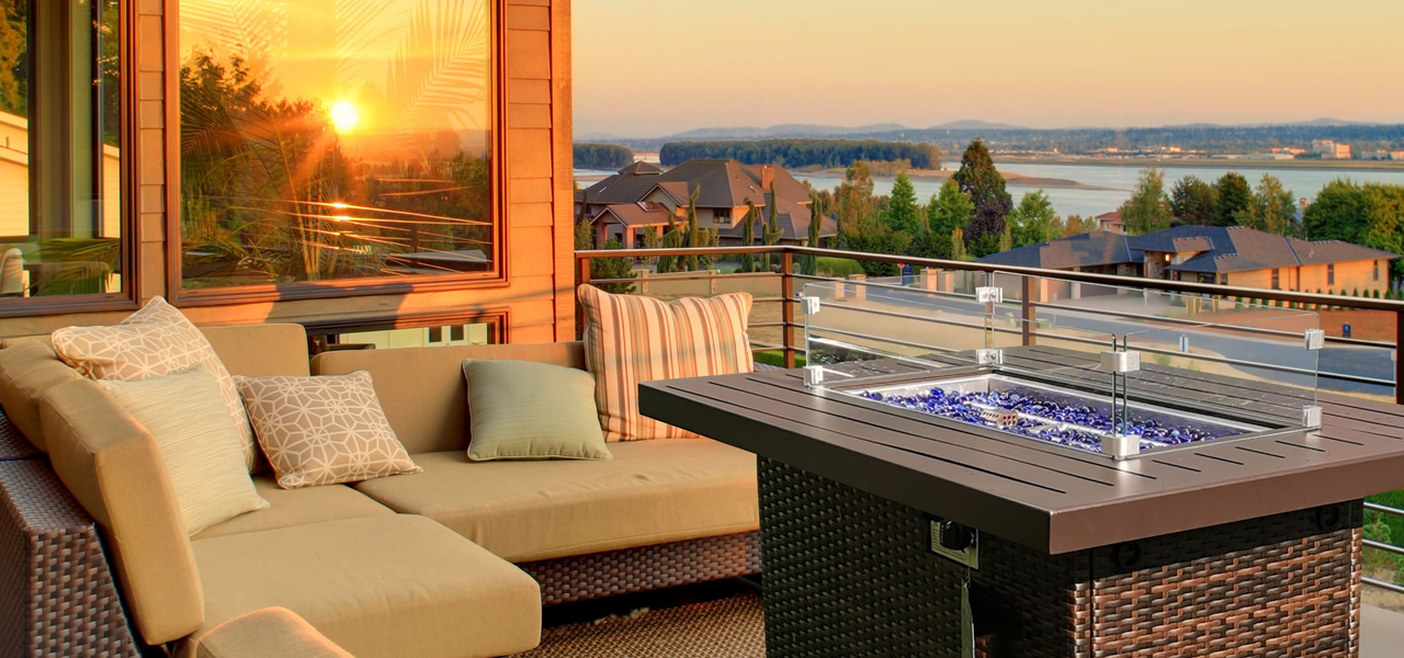 TANFLY Patio Sofa Set With Gas Firepit Table